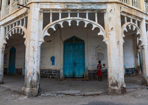 Ottoman architecture building with arcades, Northern Red Sea, Massawa, Eritrea