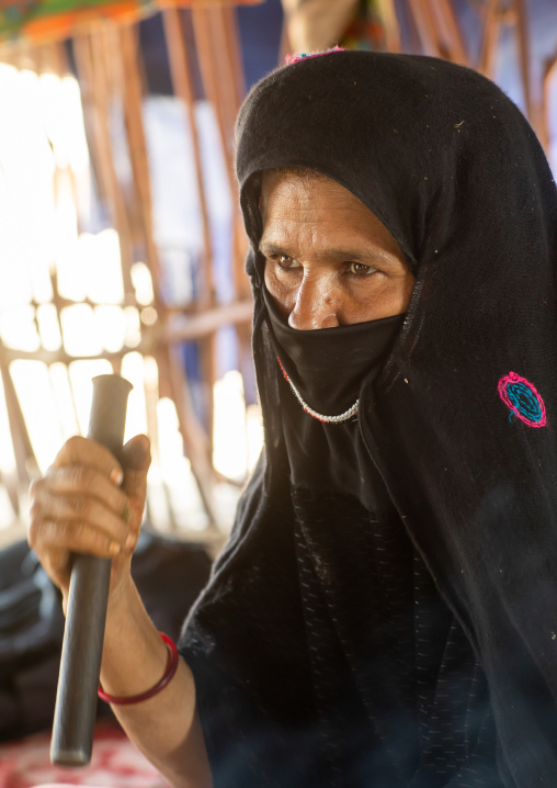 Portrait of a veiled Rashaida tribe woman, Northern Red Sea, Massawa, Eritrea
