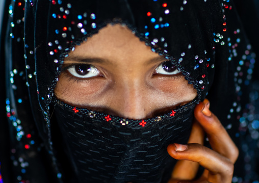 Portrait of a veiled Rashaida tribe girl, Northern Red Sea, Massawa, Eritrea