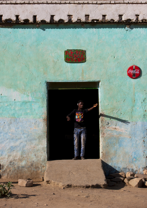 Man Standing At The Entrance Of A Bar, Anseba, Keren, Eritrea