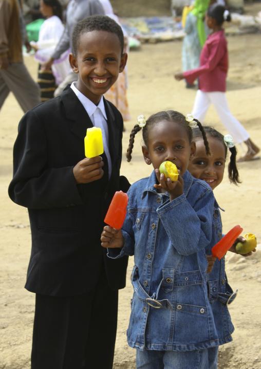Kids Dressed For Festival Of Mariam Dearit, Keren, Eritrea