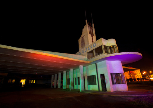 Fiat Tagliero Garage And Service Station At Night, Central region, Asmara, Eritrea