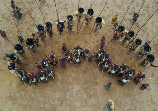 Aerial view of dimi ceremony in the Dassanech tribe to celebrate circumcision of teenagers, Omo Valley, Omorate, Ethiopia