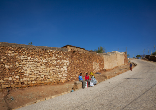 People Sitting Near The Old Walls Of Harar, Ethiopia