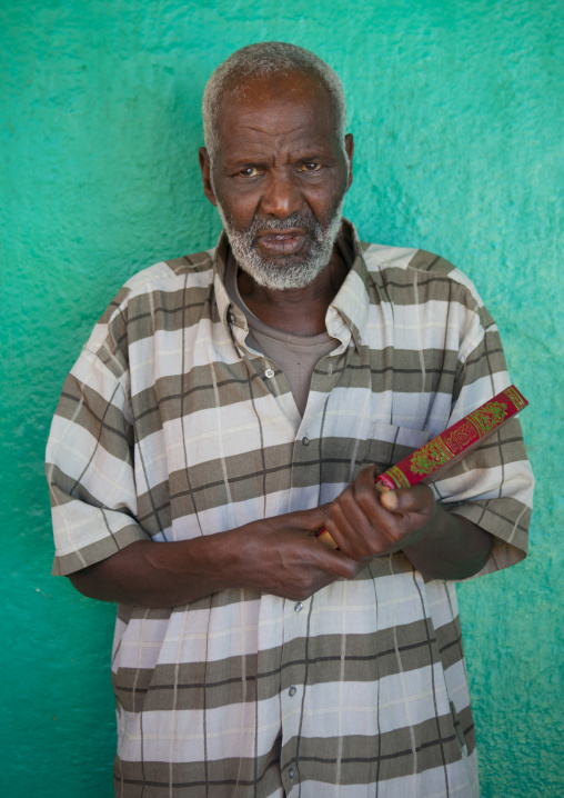 Portrait Of A Old Man Holding A Quran Book, Harar, Ethiopia