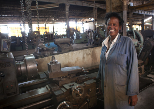 Portrait Of A Female Worker With Toothy Smile At Dire Dawa Train Station, Ethiopia