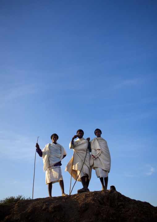 Karrayyu Tribe Men On Top Of A Hill In Traditional Clothes, During Gadaaa Ceremony, Metahara, Ethiopia