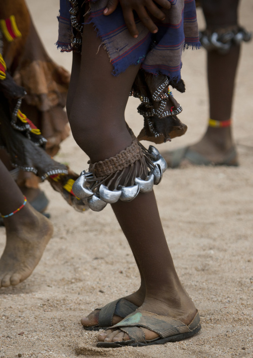 Hamer Tribe Women With Bells Around Their Calf Dancing During Bull Leaping Ceremony, Omo Valley, Ethiopia