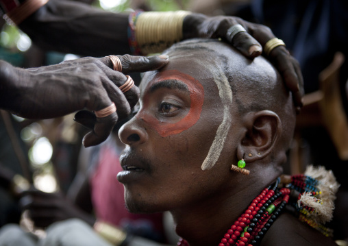 Whippers Making Up During Bull Jumping Ceremony In Hamer Tribe, Omo Valley, Ethiopia