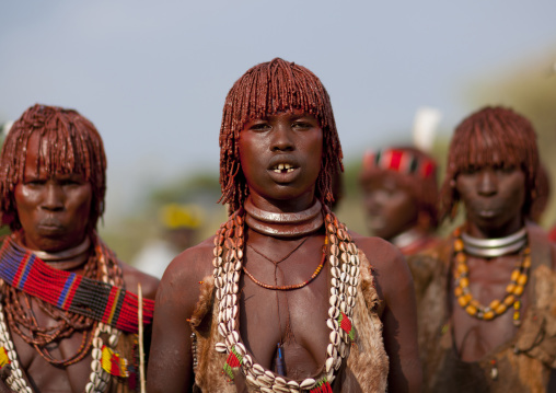 Three Hamer Tribe Women Celebrating Bull Jumping Ceremony, Omo Valley, Ethiopia