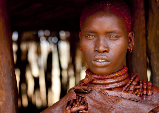 Utah Woman From Hamer Tribe In Her Hut, Omo Valley, Ethiopia