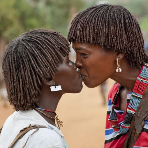 Two Banna Women Kissing Lips Omo Valley Ethiopia