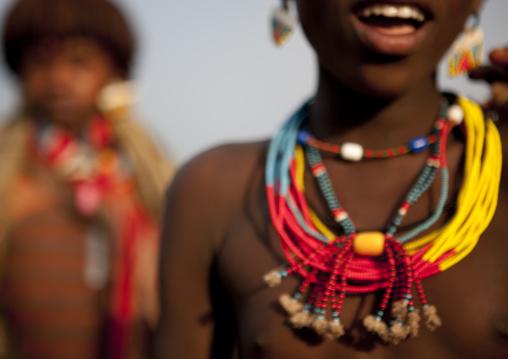 Banna Teenage Girl Beaded Necklaces On Jumping Ceremony Ethiopia