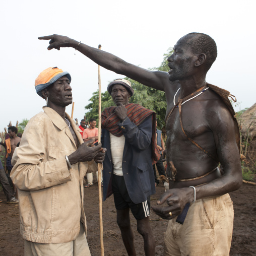 Bodi Man Bare Chest Pointing With Finger  Kael New Year Ceremony Omo Valley Ethiopia