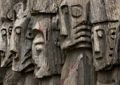 Waga Wooden Carved Sculptures Devoted To The Dead Konso Tribe Omo Valley Ethiopia
