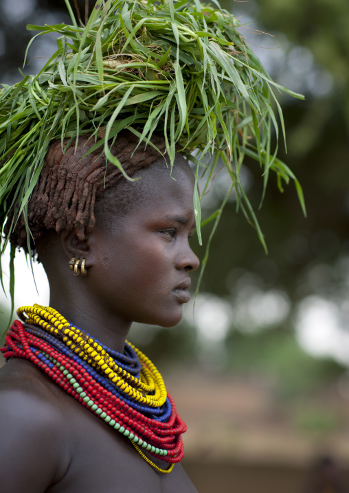 Dassanech Young Woman Carrying Load Of Green Grass On Head And Beaded Necklaces Omo Valley Ethiopia