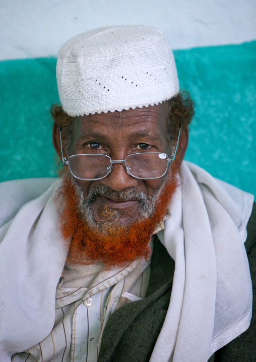 Portrait Of A Muslim Man With Ginger Tainted Beard, Harar, Ethiopia