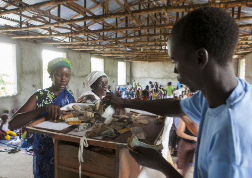 People Giving Money To Church Donations, Gambela, Ethiopia