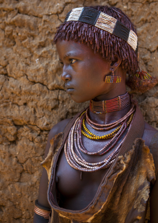 Hamer Tribe Girl In Traditional Outfit, Turmi, Omo Valley, Ethiopia