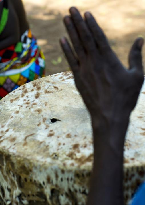 Anuak Tribe Playing Drum, Gambela, Ethiopia