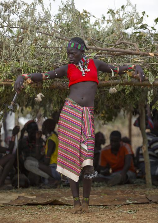 Bashada Tribe Woman During A Bull Jumping Ceremony, Dimeka, Omo Valley, Ethiopia