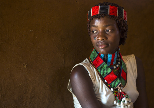 Hamer Tribe Woman In Traditional Outfit, Turmi, Omo Valley, Ethiopia