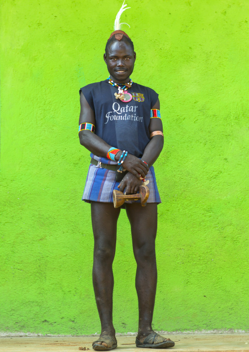 Hamer Tribe Man With A Barcelona Football Shirt, Key Afer, Omo Valley, Ethiopia