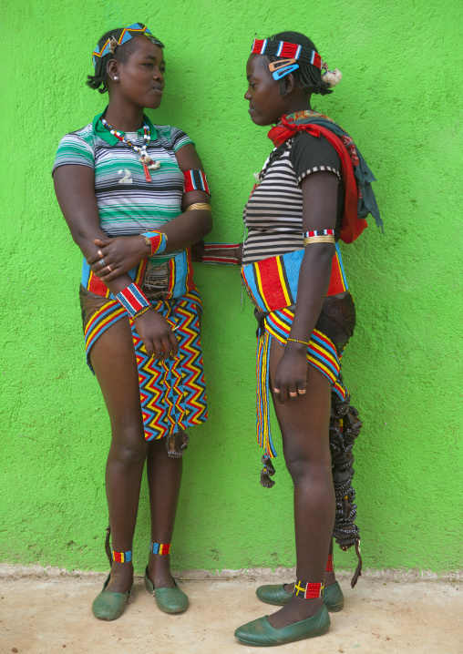 Bana Tribe Girls With Traditional Clothes, Key Afer, Omo Valley, Ethiopia