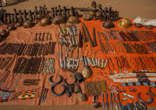 Hamer Tribe Artifacts And Jewelry In Market, Dimeka, Omo Valley, Ethiopia