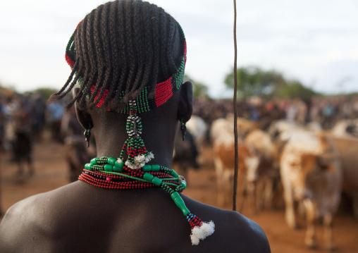 Bashada Tribe Warrior During A Bull Jumping Ceremony, Dimeka, Omo Valley, Ethiopia