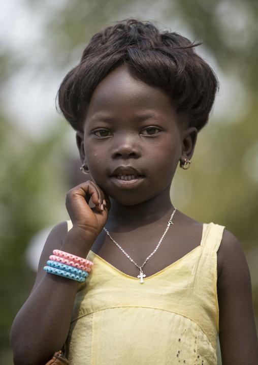 Anuak Tribe Girl In Modern Clothes, Gambela, Ethiopia