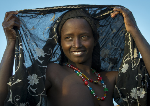 Afar Tribe Woman Putting Her Veil, Assaita, Afar Regional State, Ethiopia