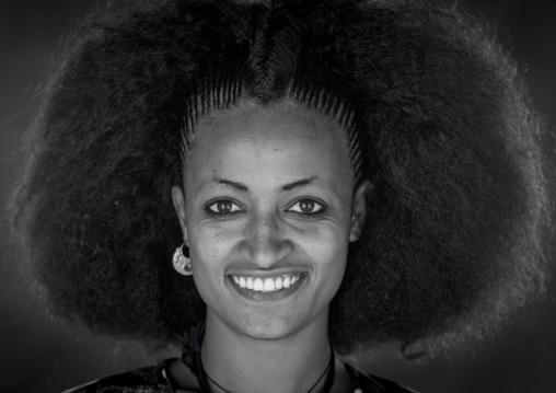 Beautiful Young Woman With Traditional Hairstyle, Lalibela, Ethiopia