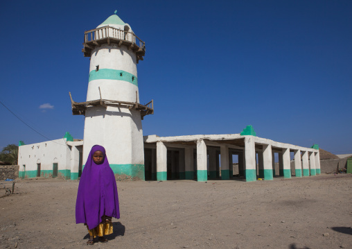 Afar Tribe Little Girl In Front Of Mosque, Assaita, Ethiopia