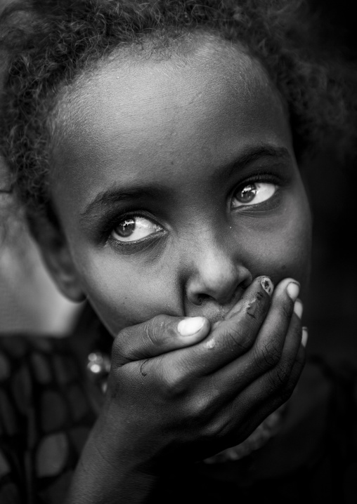 Afar Tribe Girl With Hand On Mouth, Assayta, Ethiopia