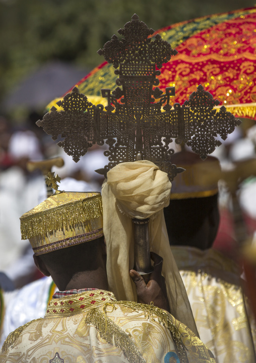 Ethiopian Orthodox Priest Holding A Cross During The Colorful Timkat Epiphany Festival, Lalibela, Ethiopia