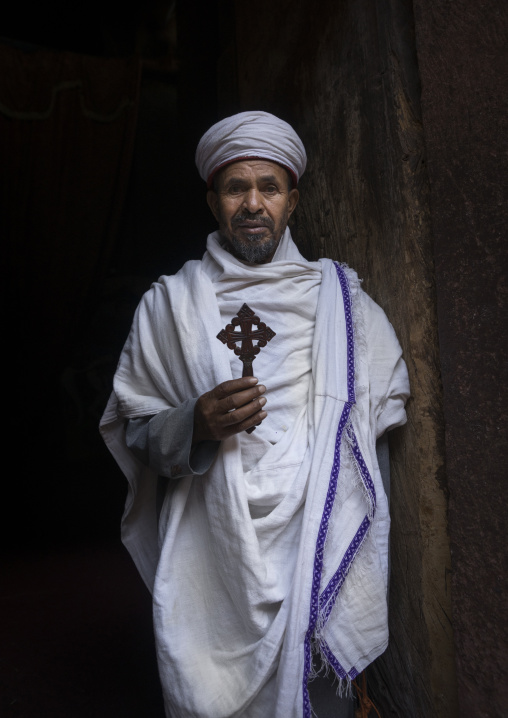 Orthodox Priest Inside A Rock Church, Lalibela, Ethiopia