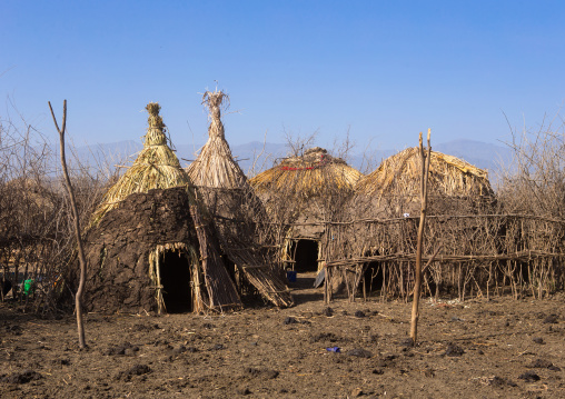 Traditional oromo village with huts protected by a fence, Amhara region, Artuma, Ethiopia