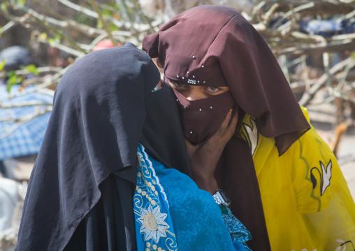 Women in burqa on a market kissing each other, Oromo, Sambate, Ethiopia