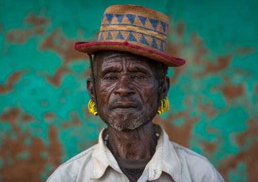 Portrait of a hamer tribe man with a hat, Omo valley, Turmi, Ethiopia