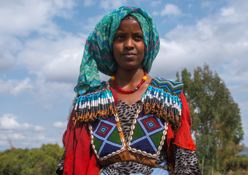 Raya tribe woman with a beaded baby carrier, Semien wollo zone, Woldia, Ethiopia