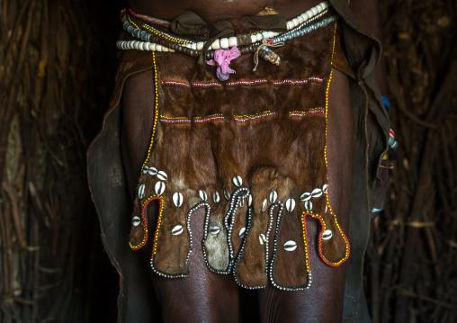 Toposa tribe woman skirt made of goat skin, Omo valley, Kangate, Ethiopia