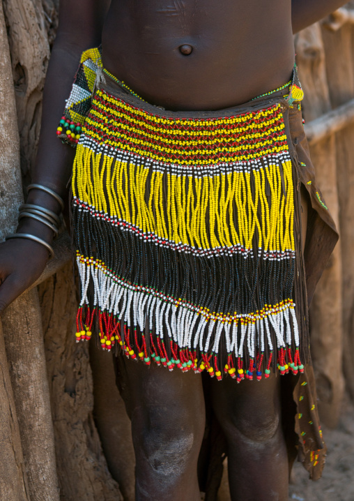 Nyangatom tribe traditional beaded skirt, Omo valley, Kangate, Ethiopia