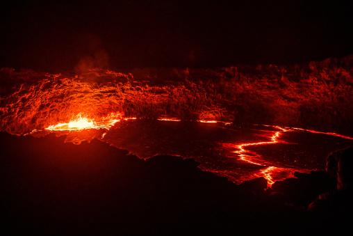 The living lava lake in the crater of erta ale volcano, Afar region, Erta ale, Ethiopia