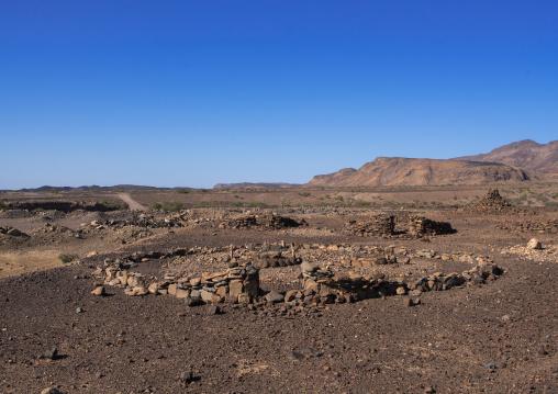 Old afar tribe grave in the danakil desert, Afar region, Semera, Ethiopia