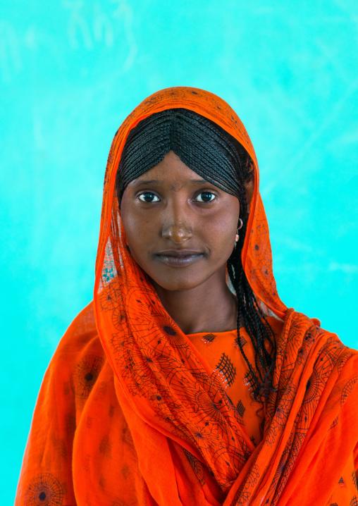 Portrait of an afar tribe girl with braided hair, Afar region, Semera, Ethiopia