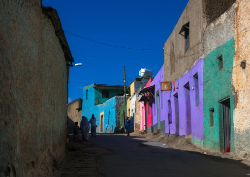 Multicoloured houses in the old town, Harari region, Harar, Ethiopia