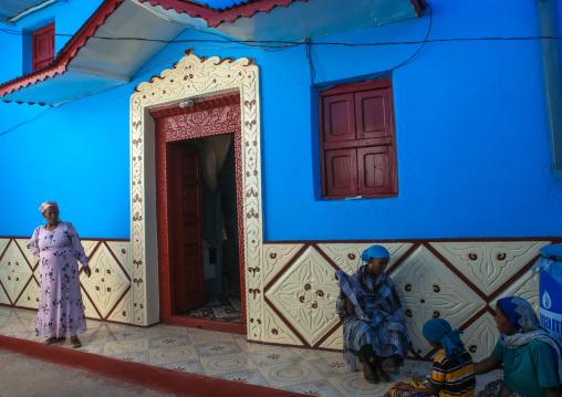Old blue house, Harari region, Harar, Ethiopia