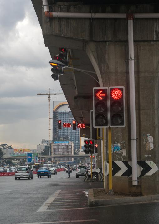 Street scene showing traffic lights, Addis abeba region, Addis ababa, Ethiopia
