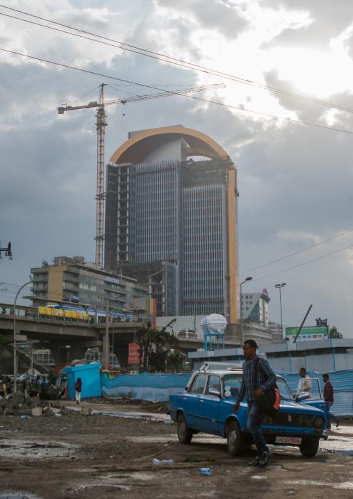 Construction of skyscrapers in the city center, Addis abeba region, Addis ababa, Ethiopia